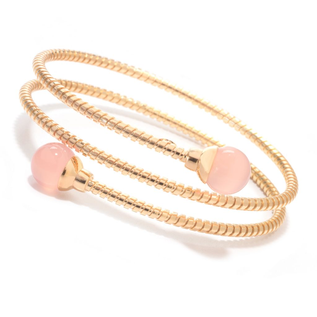 "140-014 - Portofino 18K Gold Embraced™ 7"" 10mm Chalcedony Ribbed Wrap-Around Bracelet"