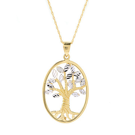 140-018 - Signature Luxe™ 14K Two-tone Gold Tree of Life Oval Pendant w/ 18'' Chain