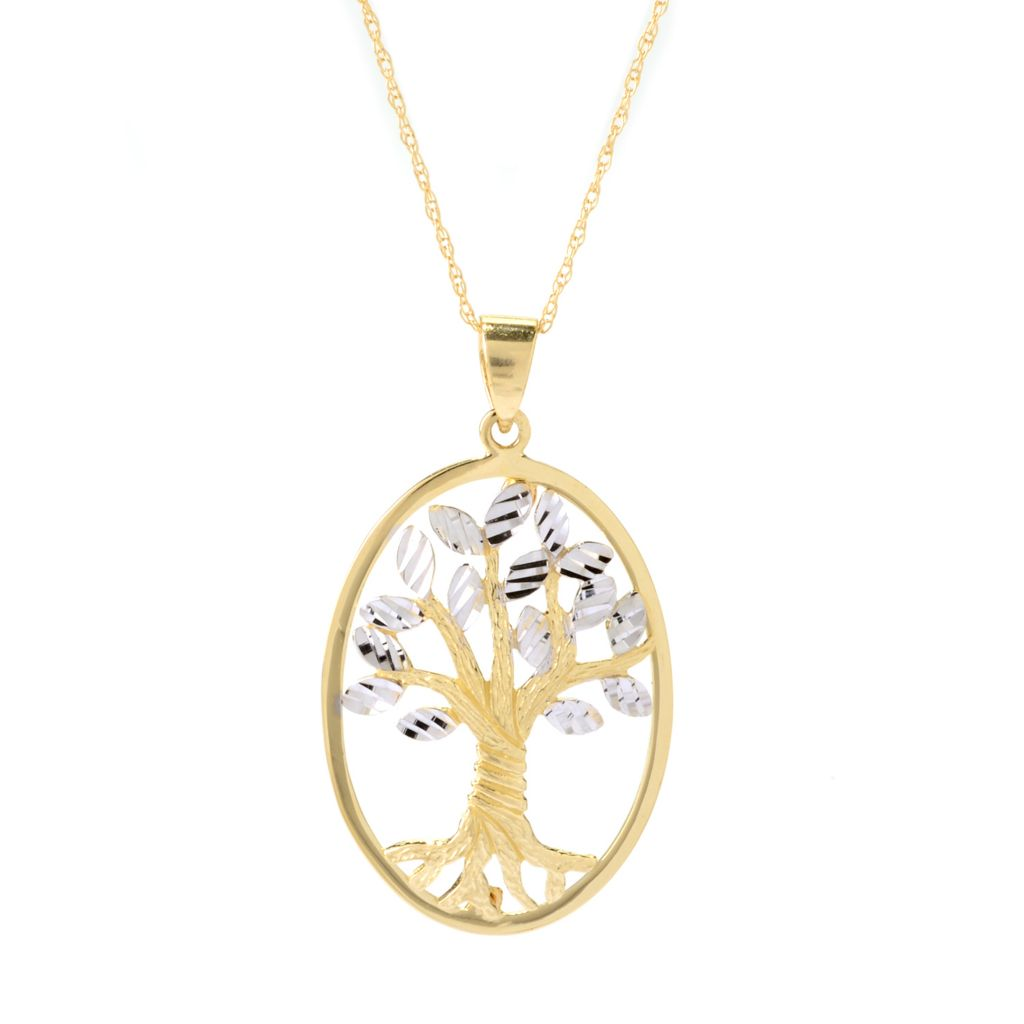 "140-018 - Signature Luxe™ 14K Two-tone Gold Tree of Life Oval Pendant w/ 18"" Chain"