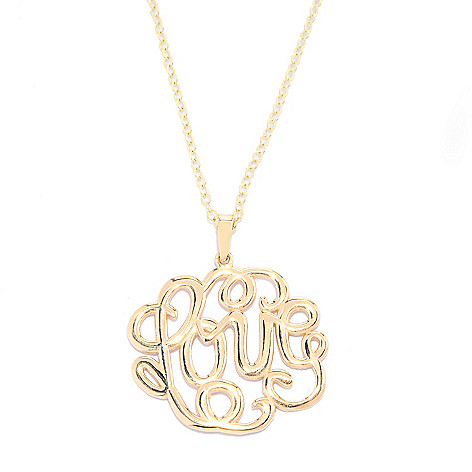 140-019 - Signature Luxe™ 14K Gold Polished Openwork Word Pendant w/ 17'' Chain