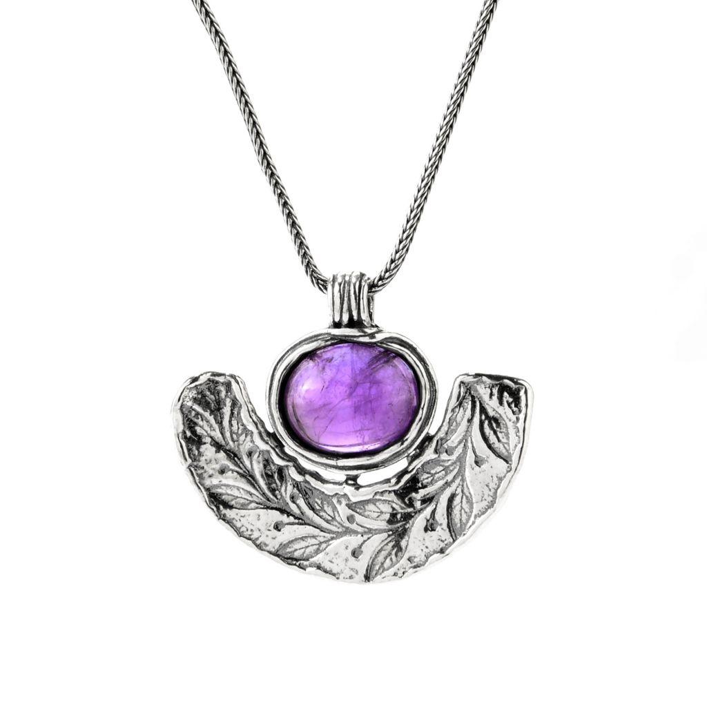 """140-029 - Passage to Israel Sterling Silver 18"""" Oval Gemstone Leaf Design Necklace"""