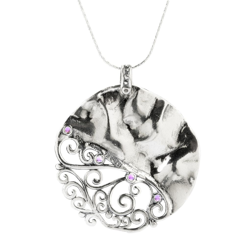 140-030 - Passage to Israel Sterling Silver 2.00ctw Amethyst Scrolling Filigree Pendant w/ Chain