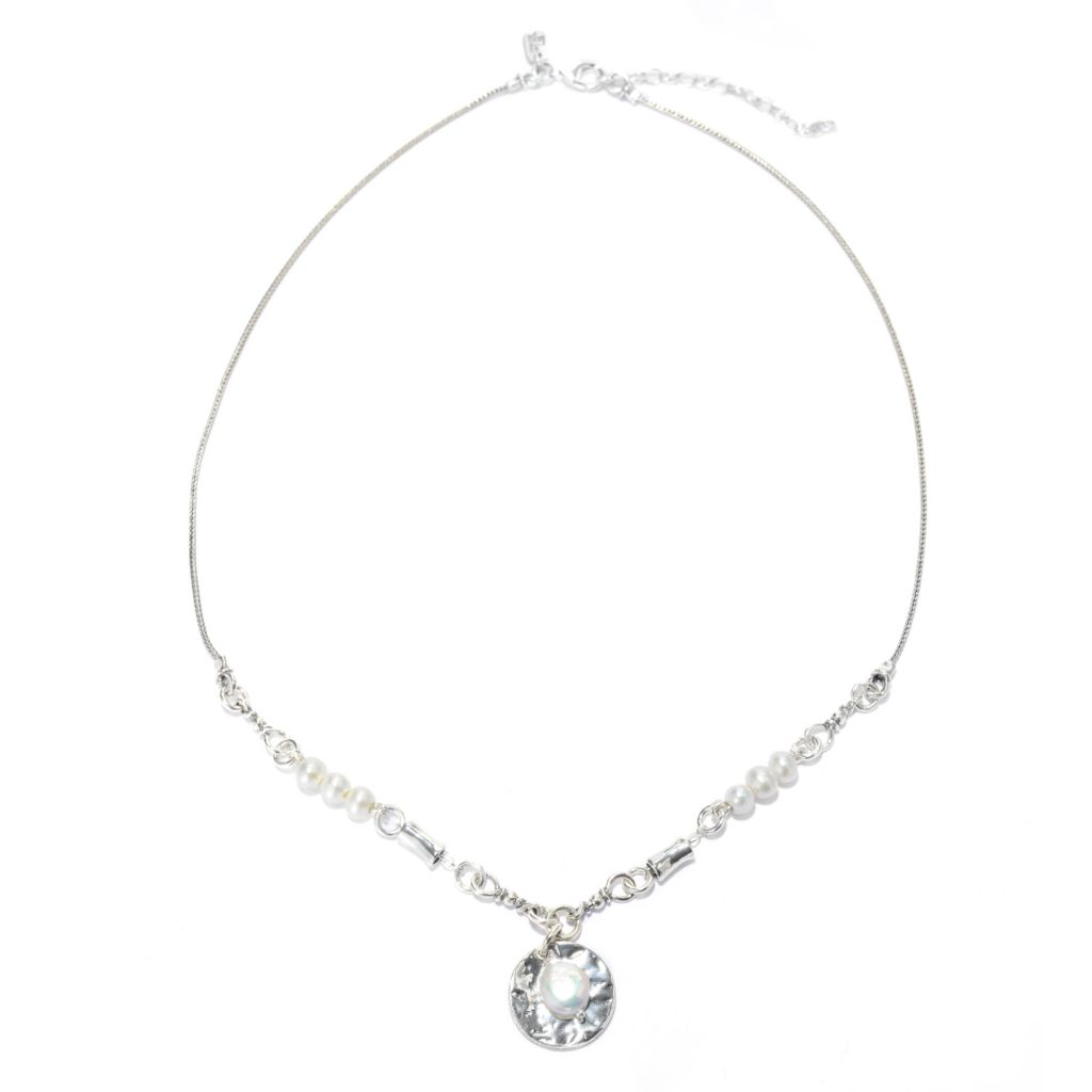 140-033 - Passage to Israel Sterling Silver 8mm Freshwater Cultured Pearl Medallion Necklace