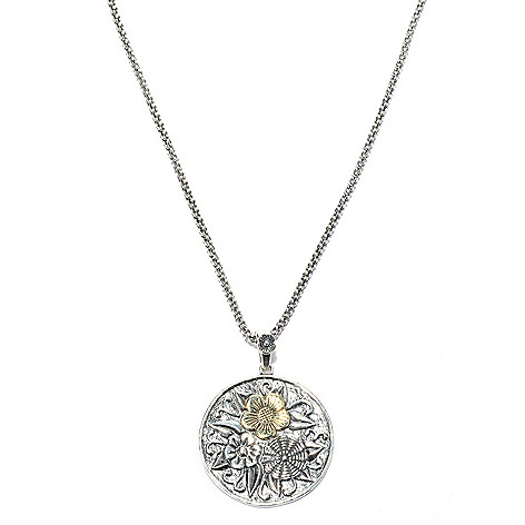 140-034 - Passage to Israel™ Two-tone Floral Medallion Pendant w/ 18'' Chain