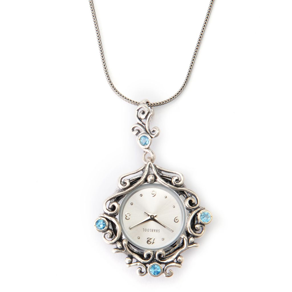140-035 - Passage to Israel Sterling Silver Round Gemstone Scrollwork Watch Pendant w/ Chain