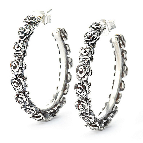 140-039 - Passage to Israel™ Sterling Silver 1.25'' Hammered Rose Hoop Earrings