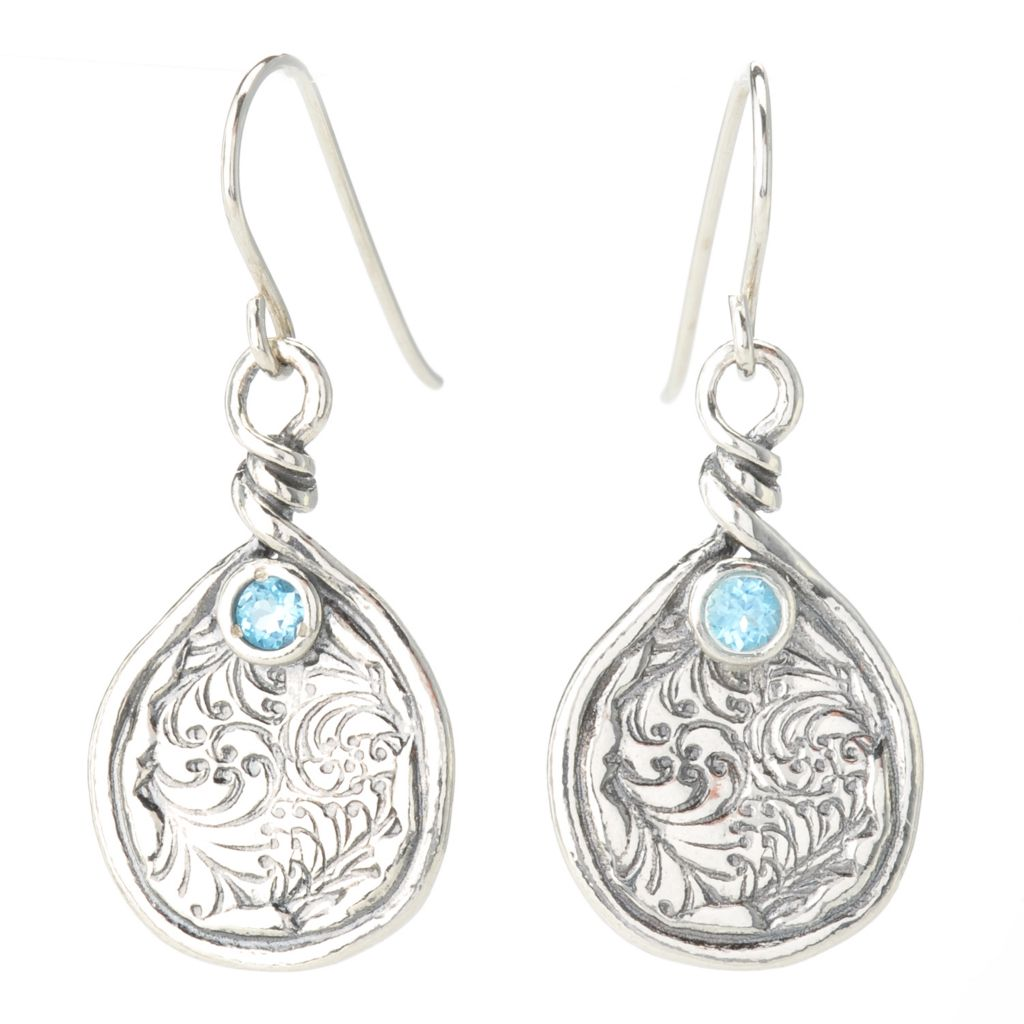 "140-040 - Passage to Israel Sterling Silver 1.25"" Gemstone Floral Motif Drop Earrings"