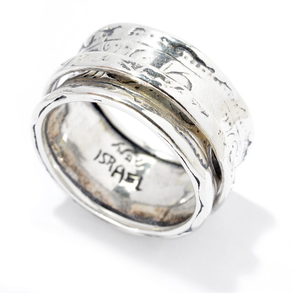140-048 - Passage to Israel Sterling Silver Hammered & Oxidized Spinner Band Ring