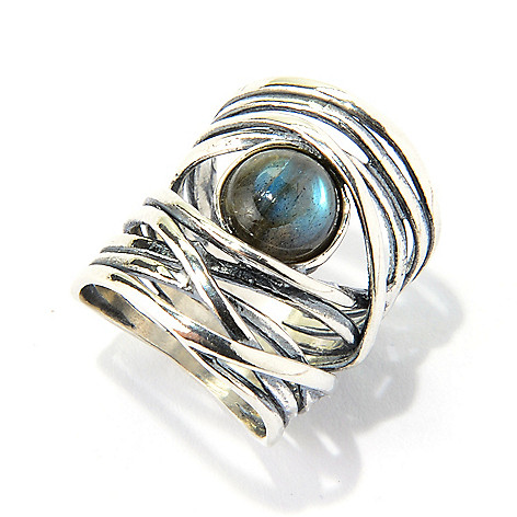 140-049 - Passage to Israel™ Sterling Silver 8mm Gemstone Hammered Wrap Ring