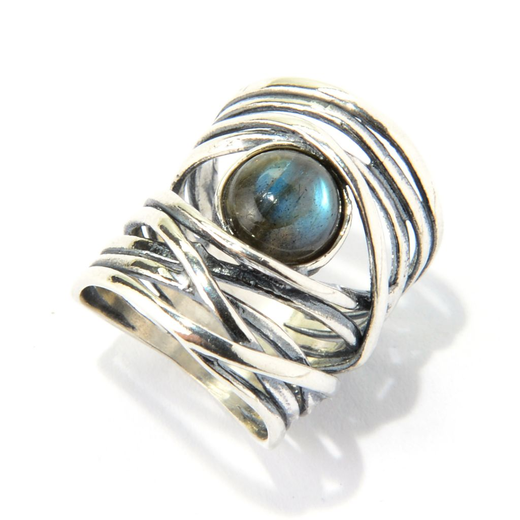 140-049 - Passage to Israel Sterling Silver 8mm Labradorite Hammered Wrap Ring