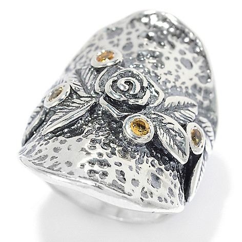 140-050 - Passage to Israel™ Sterling Silver Gemstone Hammered Floral Ring