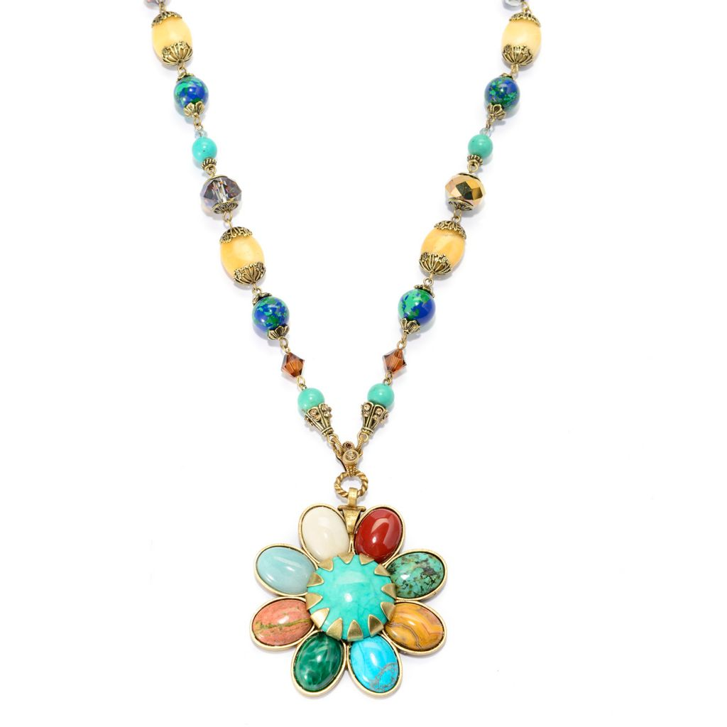 "140-053 - Sweet Romance™ 26"" Crystal, Glass & Multi Gemstone Beaded Flower Drop Necklace"