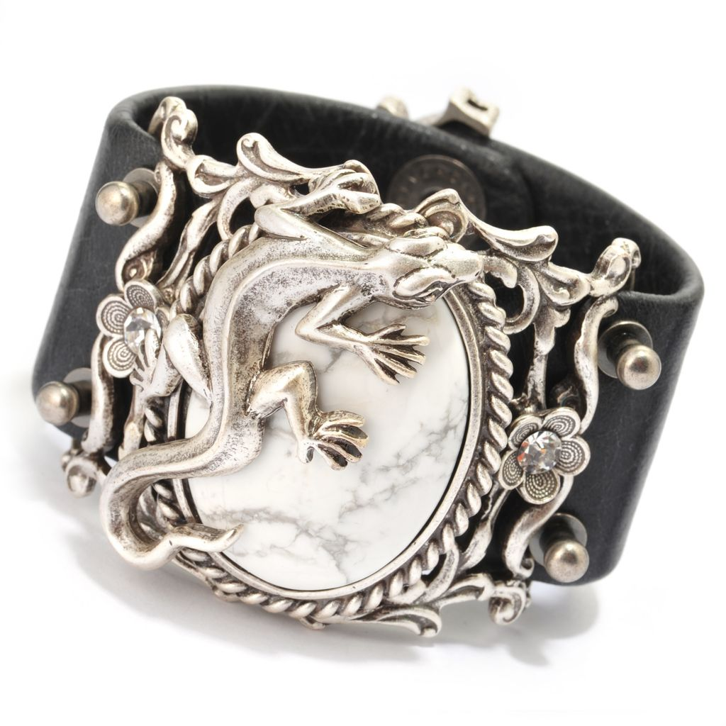 "140-056 - Sweet Romance™ 7.5"" 40 x 30mm Howlite & Crystal Double Snap Leather Bracelet"