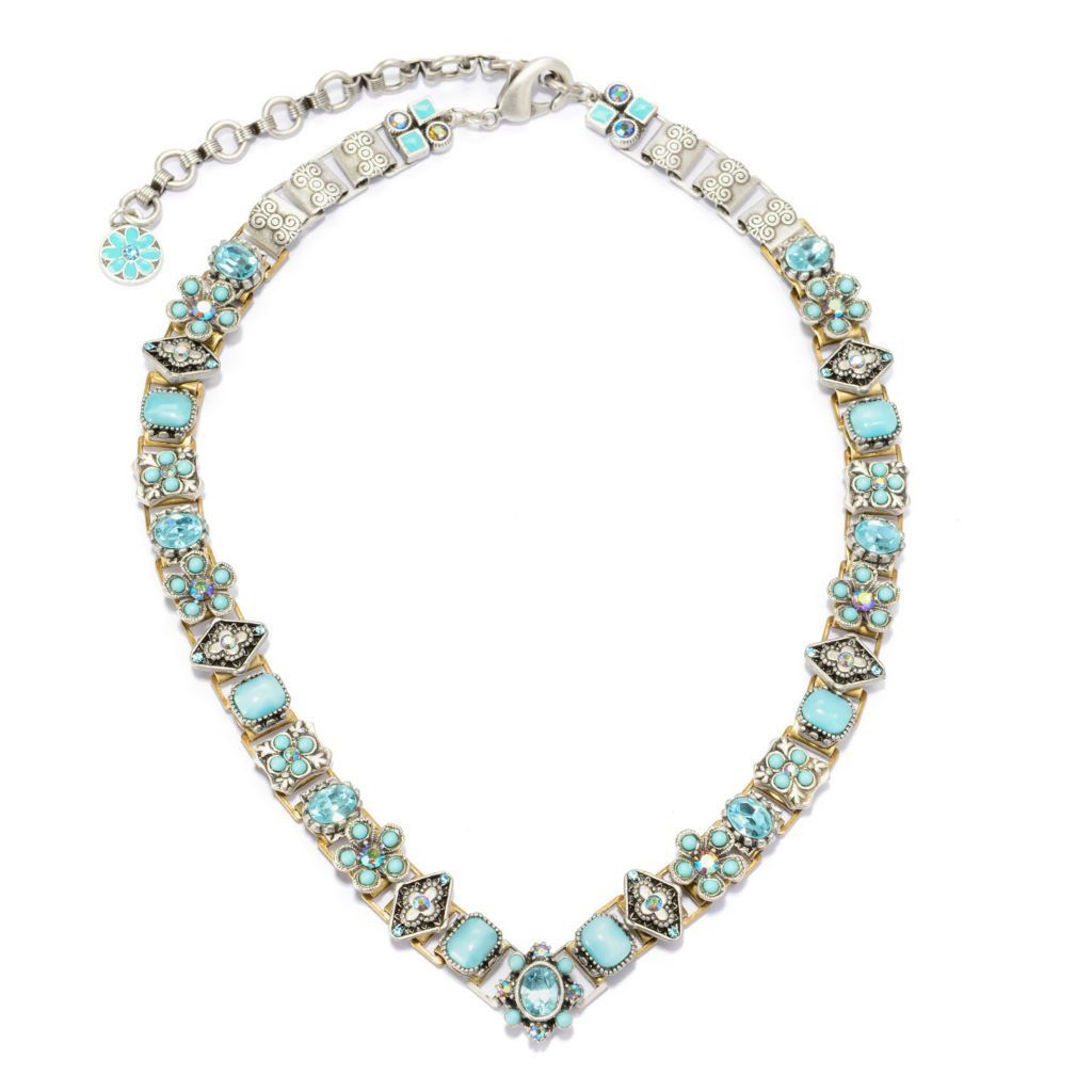 "140-057 - Sweet Romance™ 18"" Crystal & Glass Floral Motif Book Chain Necklace"