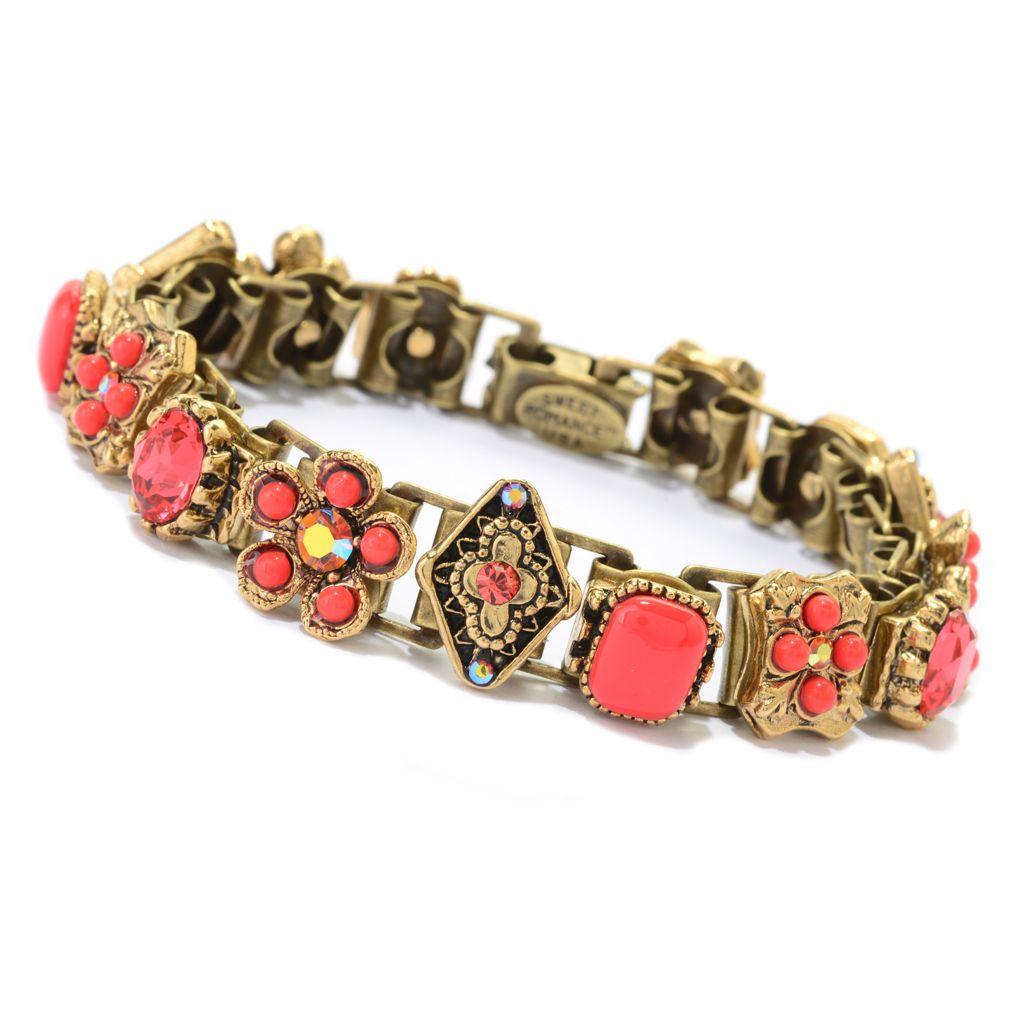 "140-058 - Sweet Romance™ 7"" Crystal & Glass Floral Motif Book Chain Bracelet"