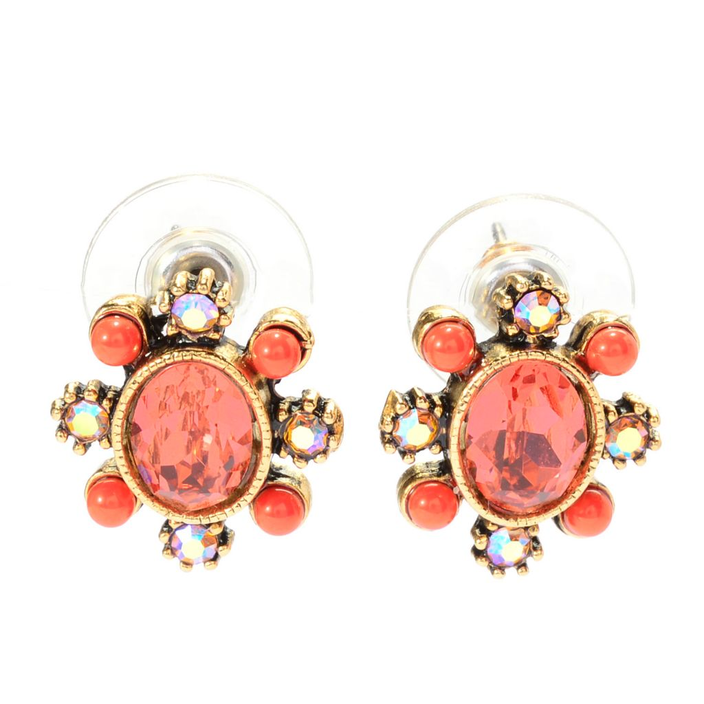 140-059 - Sweet Romance™ Crystal & Glass Floral Motif Stud Earrings