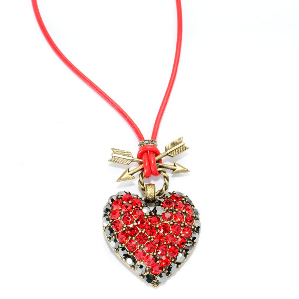 "140-060 - Sweet Romance™ 20"" Crystal Heart & Crossed Arrow Leather Cord Necklace"