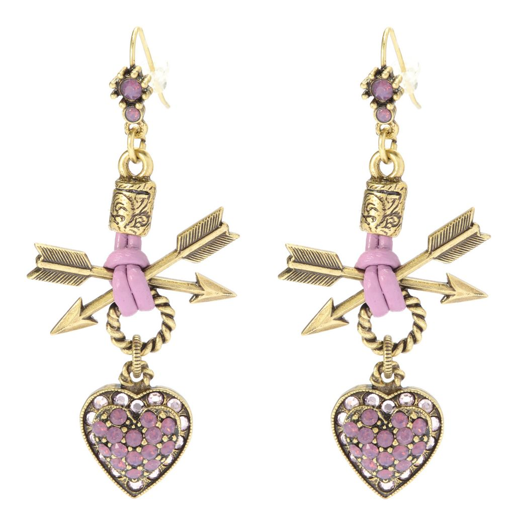"140-061 - Sweet Romance™ 2.5"" Crystal Heart & Crossed Arrow Leather Cord Drop Earrings"