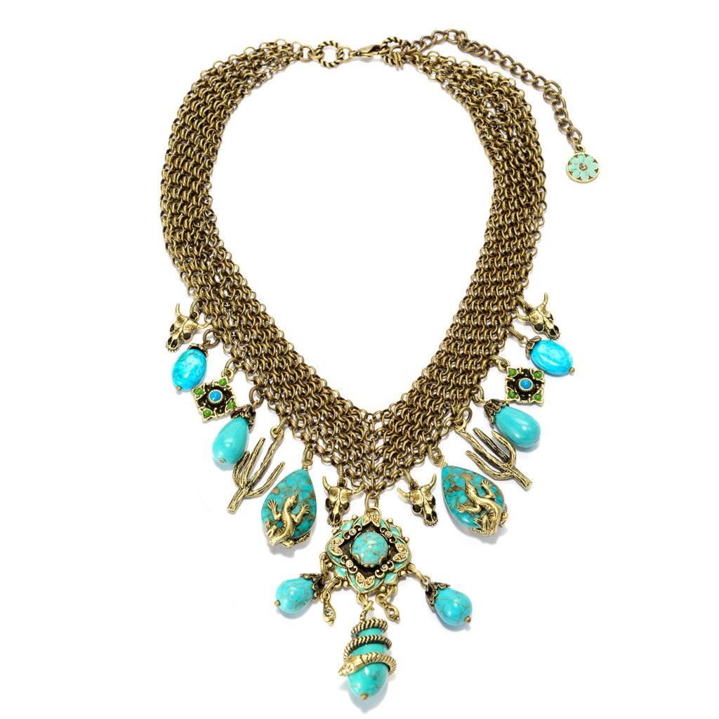 "140-062 - Sweet Romance™ 15.5"" Magnesite, Howlite & Crystal Western Motif Dangle Necklace w/ 4"" Extender"