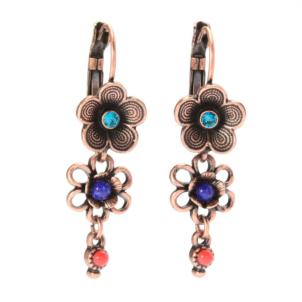 "140-064 - Sweet Romance™ 1.5"" Multi Color Crystal & Glass Graduated Flower Drop Earrings"