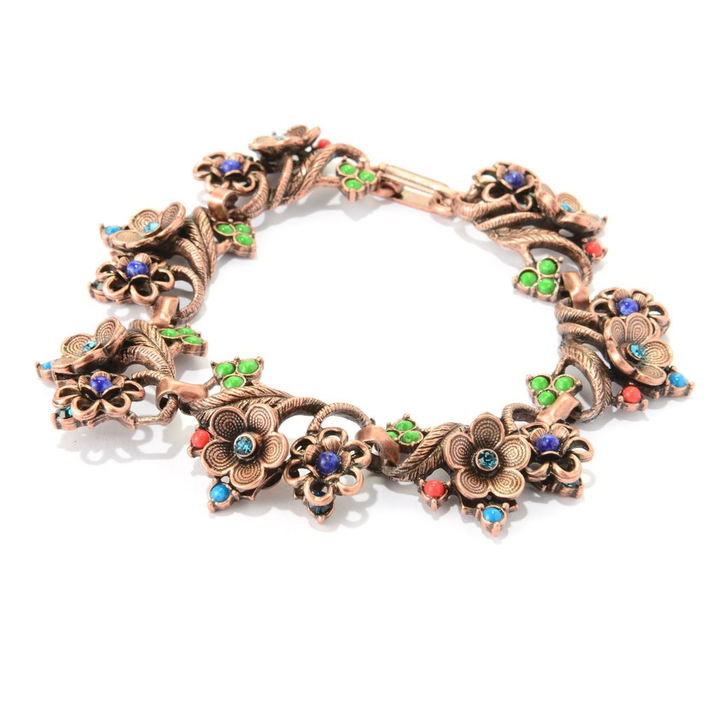 "140-065 - Sweet Romance™ 8"" Multi Color Crystal & Glass Floral Station Bracelet"