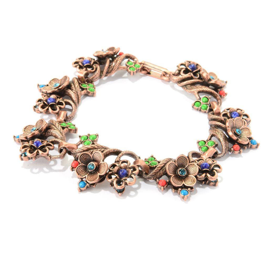 "140-065 - Sweet Romance™ 8"" Multi Color Crystal & Glass Floral Station Bracelet"