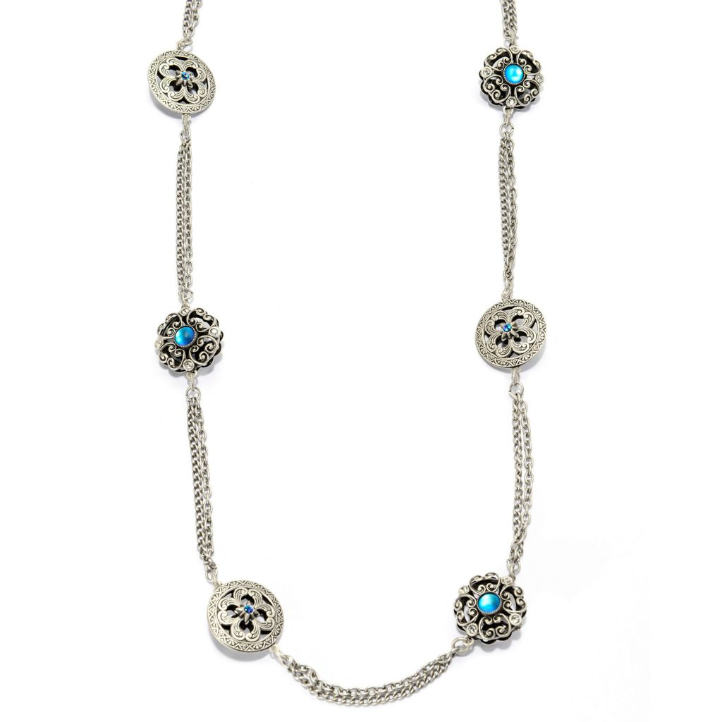 "140-066 - Sweet Romance™ 30"" Crystal Double Strand Floral Medallion Station Necklace"