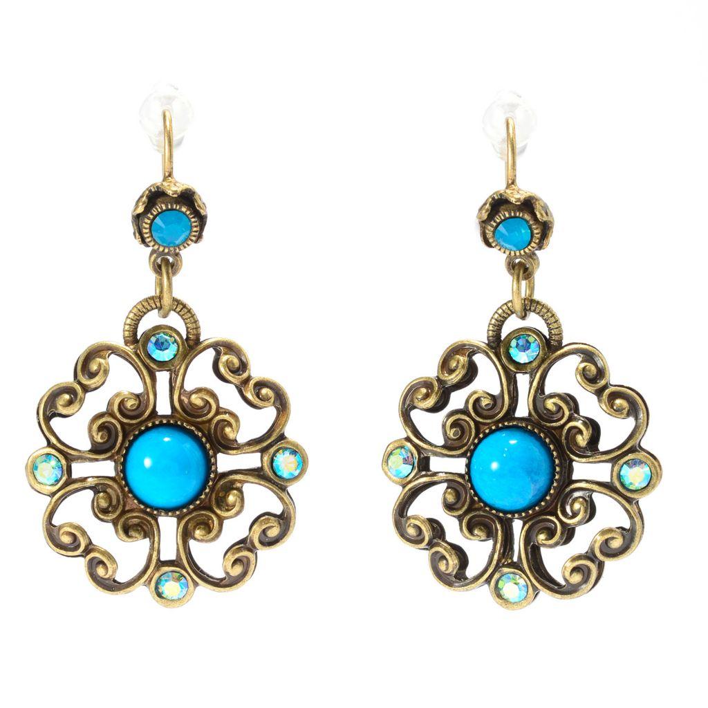"140-067 - Sweet Romance™ 1.5"" Crystal Floral Medallion Drop Earrings"
