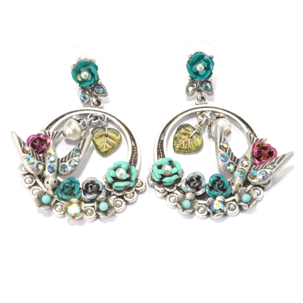 "140-068 - Sweet Romance™ 2"" Crystal & Glass Flower & Bird Circle Drop Earrings"