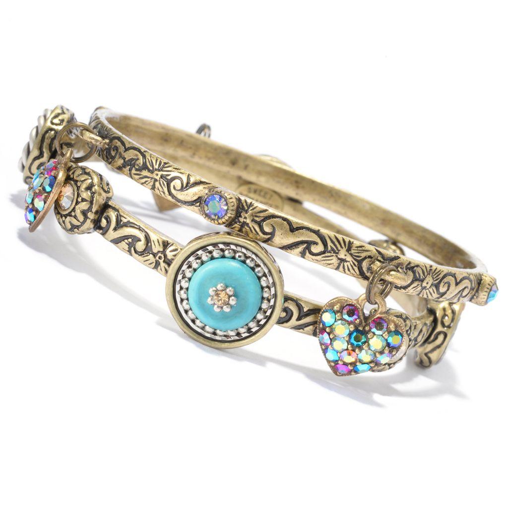 "140-069 - Sweet Romance™ Set of Two 7.5"" Western Motif Dangle Heart Charm Bangle Bracelets"