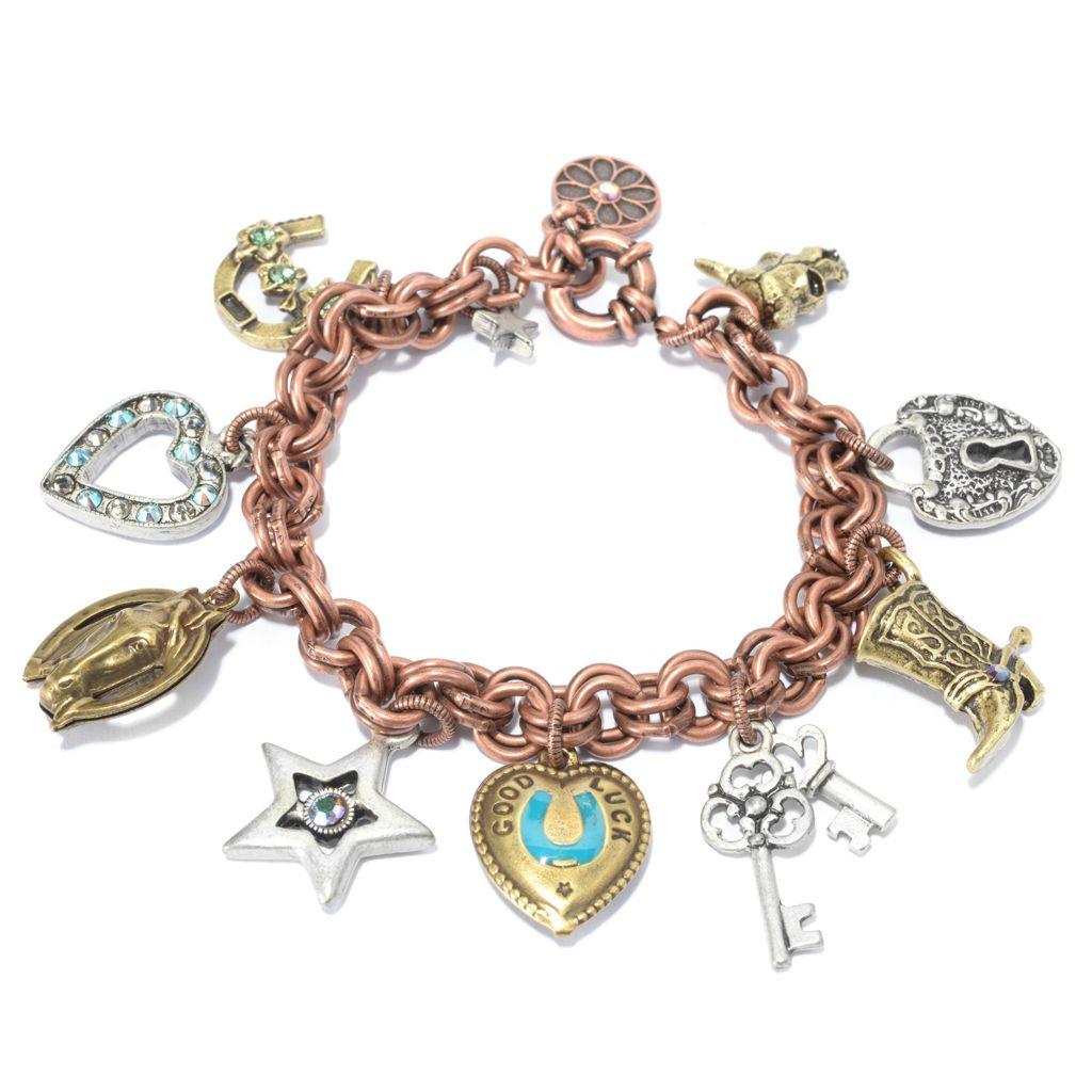 140-071 - Sweet Romance™ Tri-color Crystal Embellished Western Motif Charm Bracelet