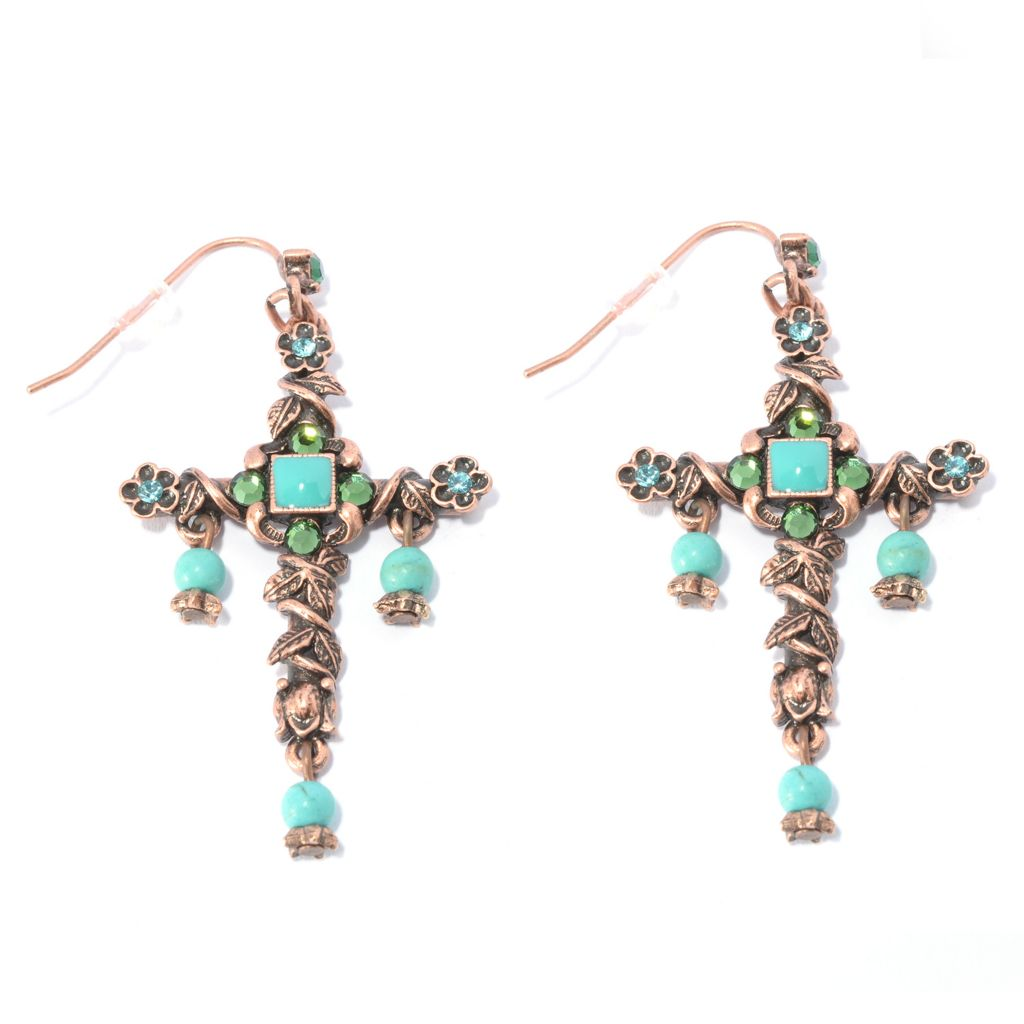 "140-072 - Sweet Romance™ 2.5"" Magnesite, Crystal & Enamel Beaded Dangle Cross Earrings"