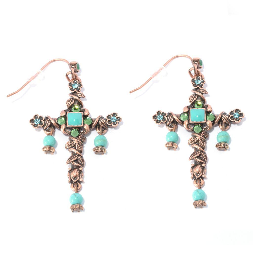 "140-072 - Sweet Romance™ 2.5"" Magnesite, Crystal & Enamel Beaded Dangle Cross Earrings"
