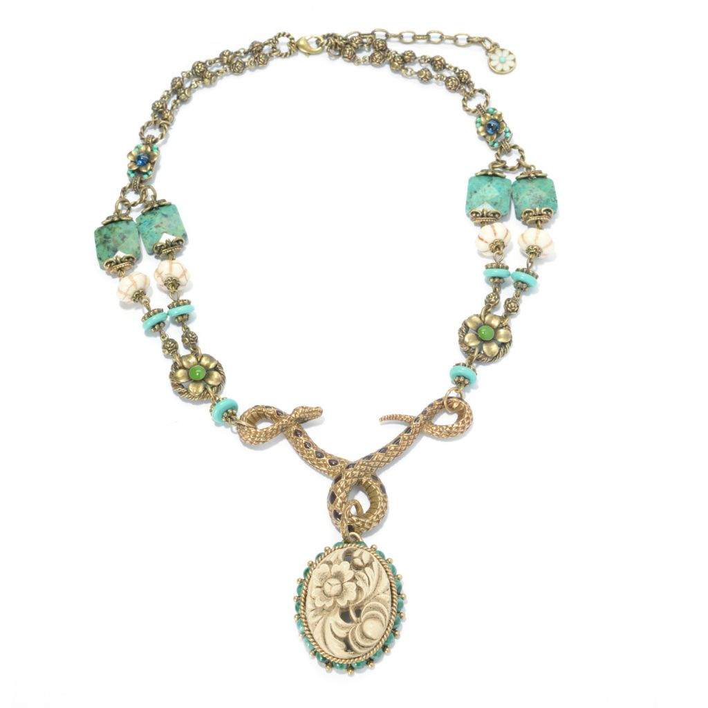 "140-076 - Sweet Romance™ 21"" 8mm Magnesite, Glass & Enamel Floral Station Snake Necklace"