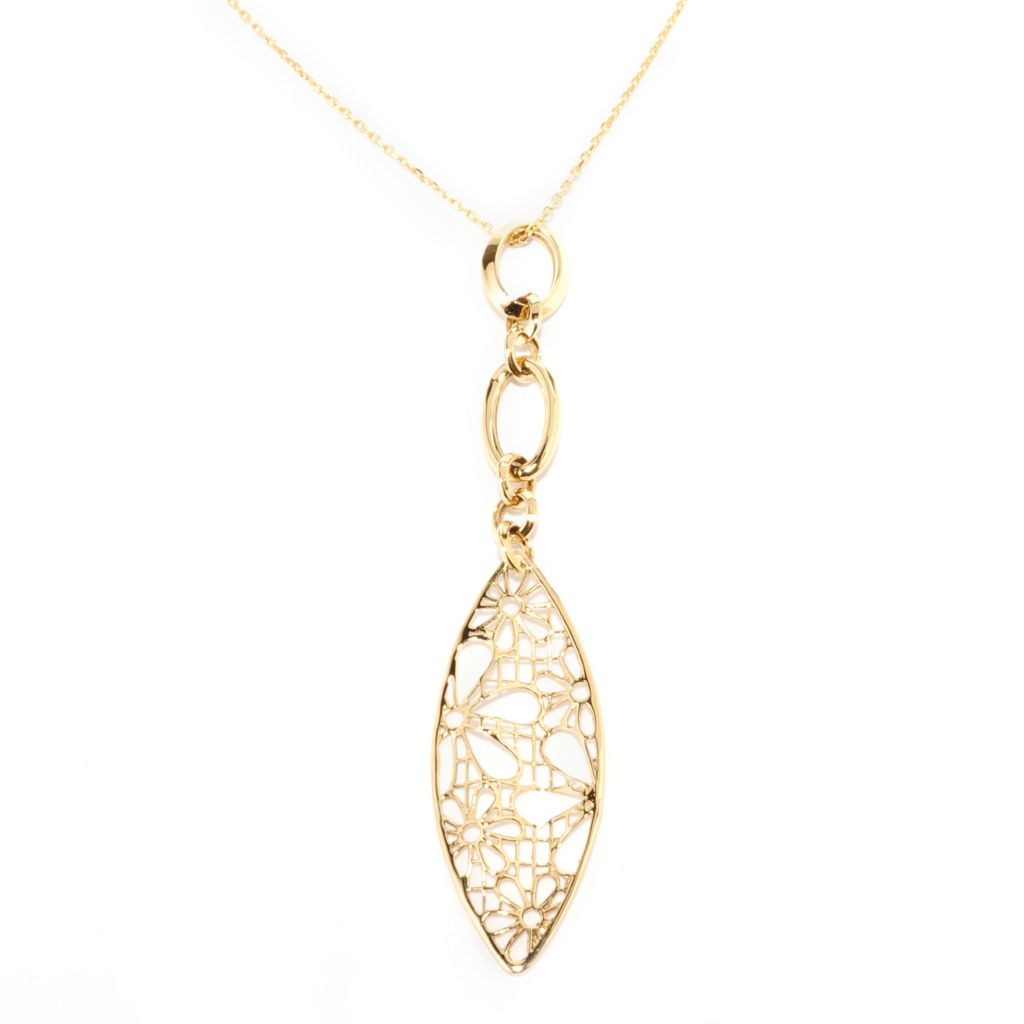 140-083 - Signature Luxe™ 14K Gold Oval Link & Marquise Shaped Floral Openwork Pendant w/ Chain