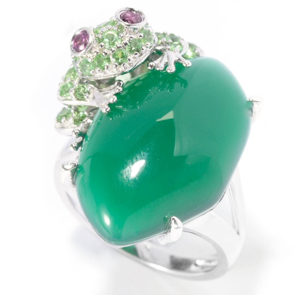 140-091 - Gem Treasures Sterling Silver 20 x 14mm Green Agate & Multi Gem Frog Ring