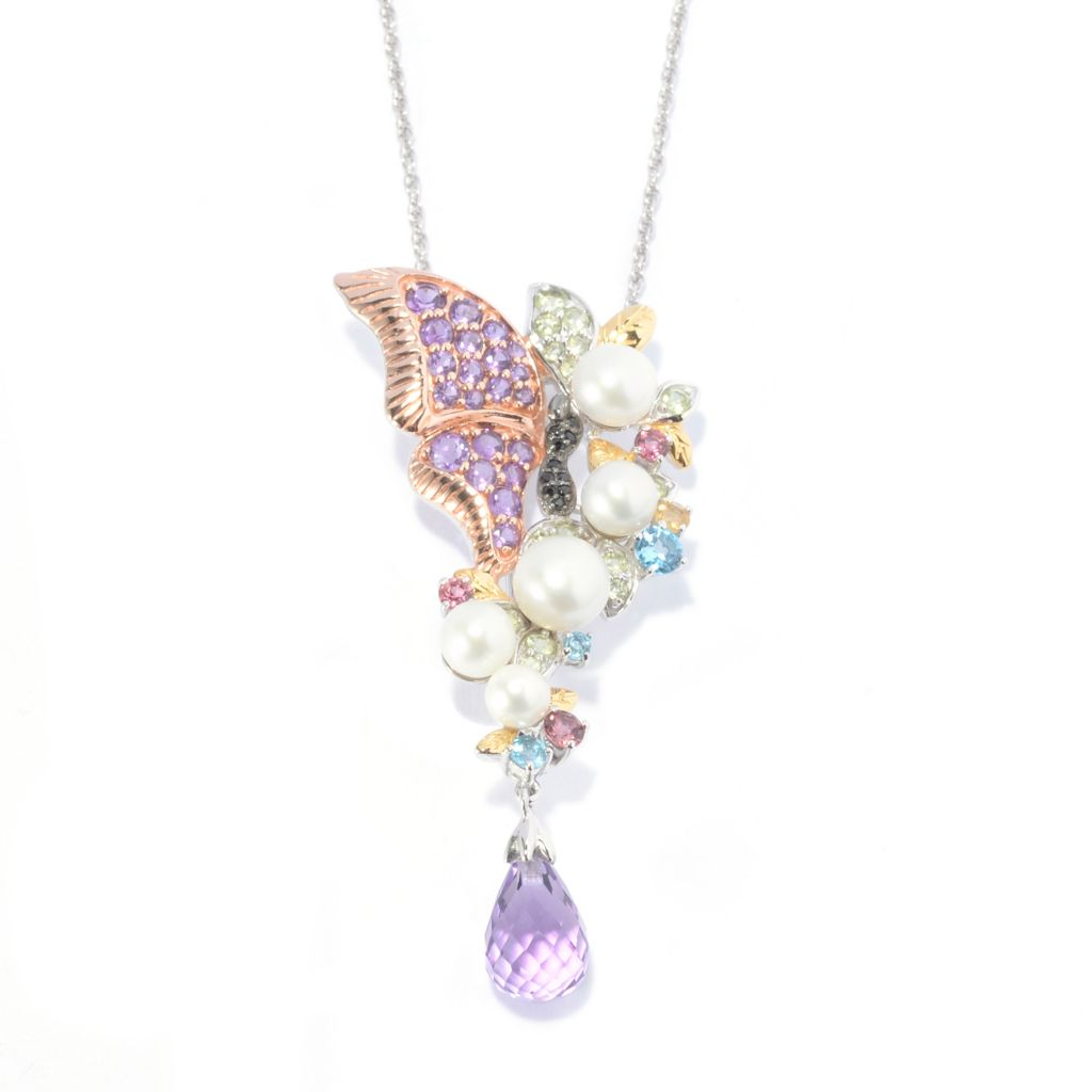 "140-092 - Gem Treasures Amethyst & Multi Gemstone Butterfly Pin/Pendant w/ 18"" Chain"