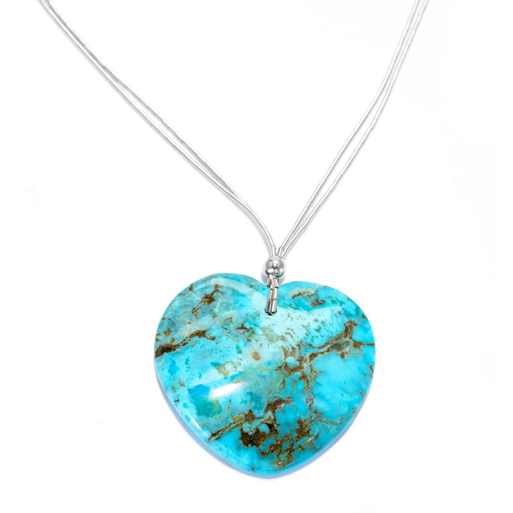 "140-095 - Gem Insider Sterling Silver 18"" 42mm Turquoise Heart Necklace w/ 2"" Extende"