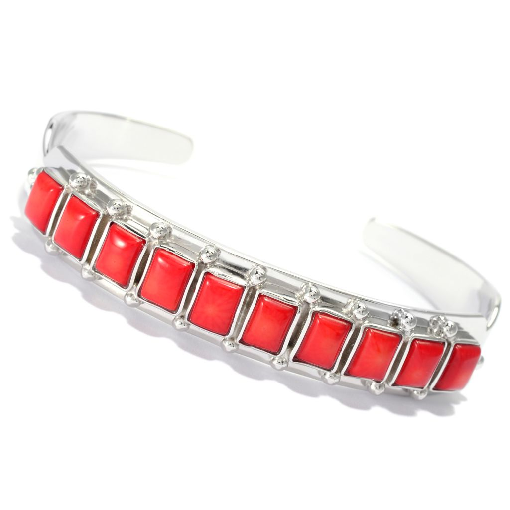 140-097 - Gem Insider Sterling Silver Red Bamboo Coral Cuff Bracelet
