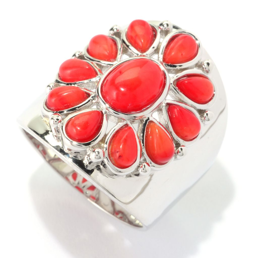 140-098 - Gem Insider Sterling Silver 8 x 6mm Oval Red Coral Flower Wide Band Ring