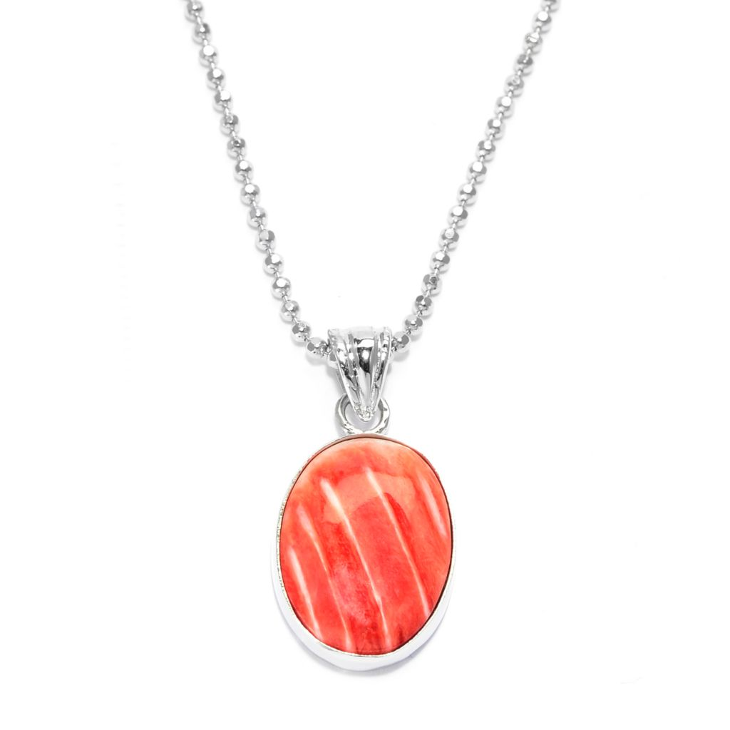140-099 - Gem Insider Sterling Silver 16 x 12mm Orange Spiny Oyster Pendant w/ Chain
