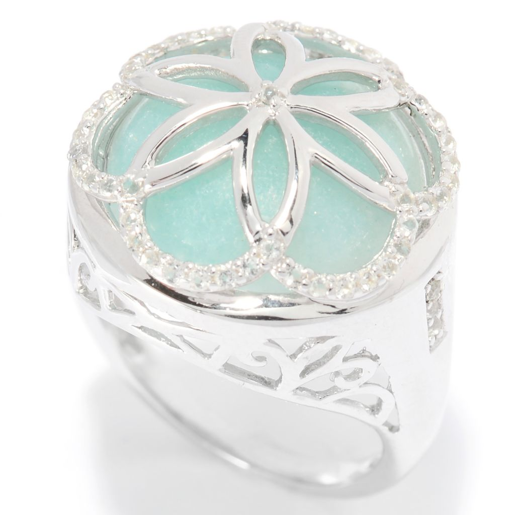 140-104 - Gem Insider Sterling Silver 15mm Amazonite & White Topaz Flower Ring