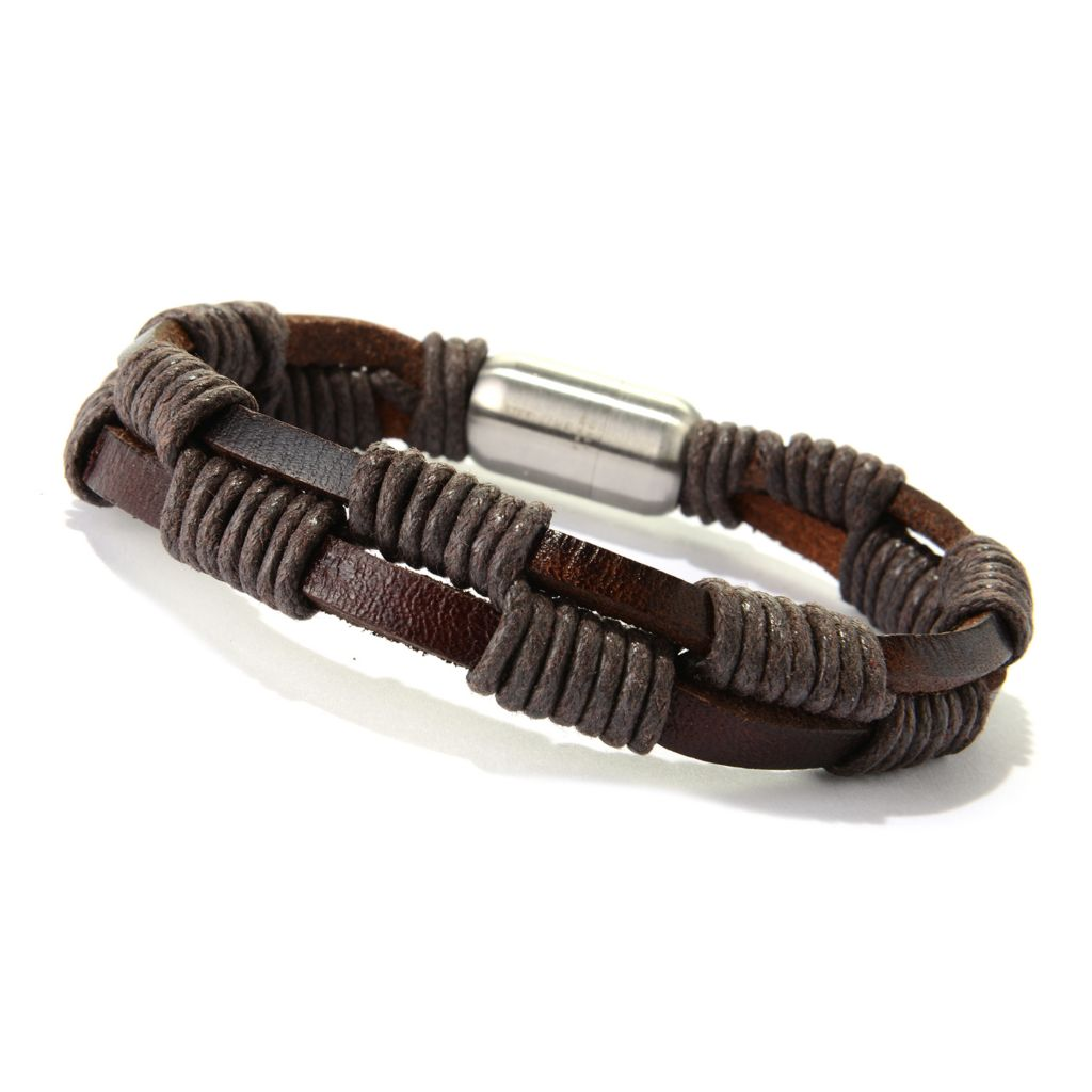 "140-110 - Steel Impact™ Men's Stainless Steel 8.5"" Leather Wrapped Two-Row Magnetic Bracelet"