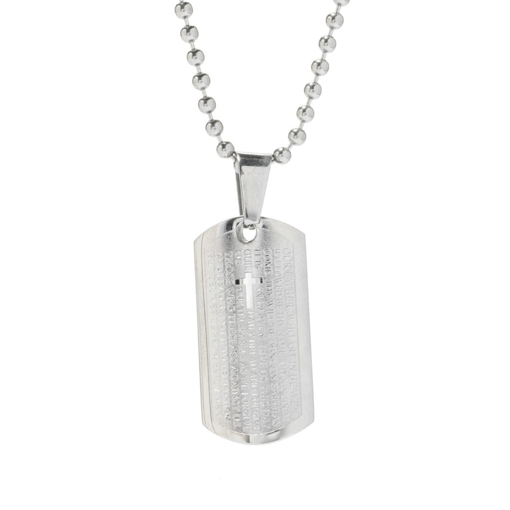 "140-111 - Steel Impact™ Men's Stainless Steel Lord's Prayer Pendant w/ 21.5"" Chain"