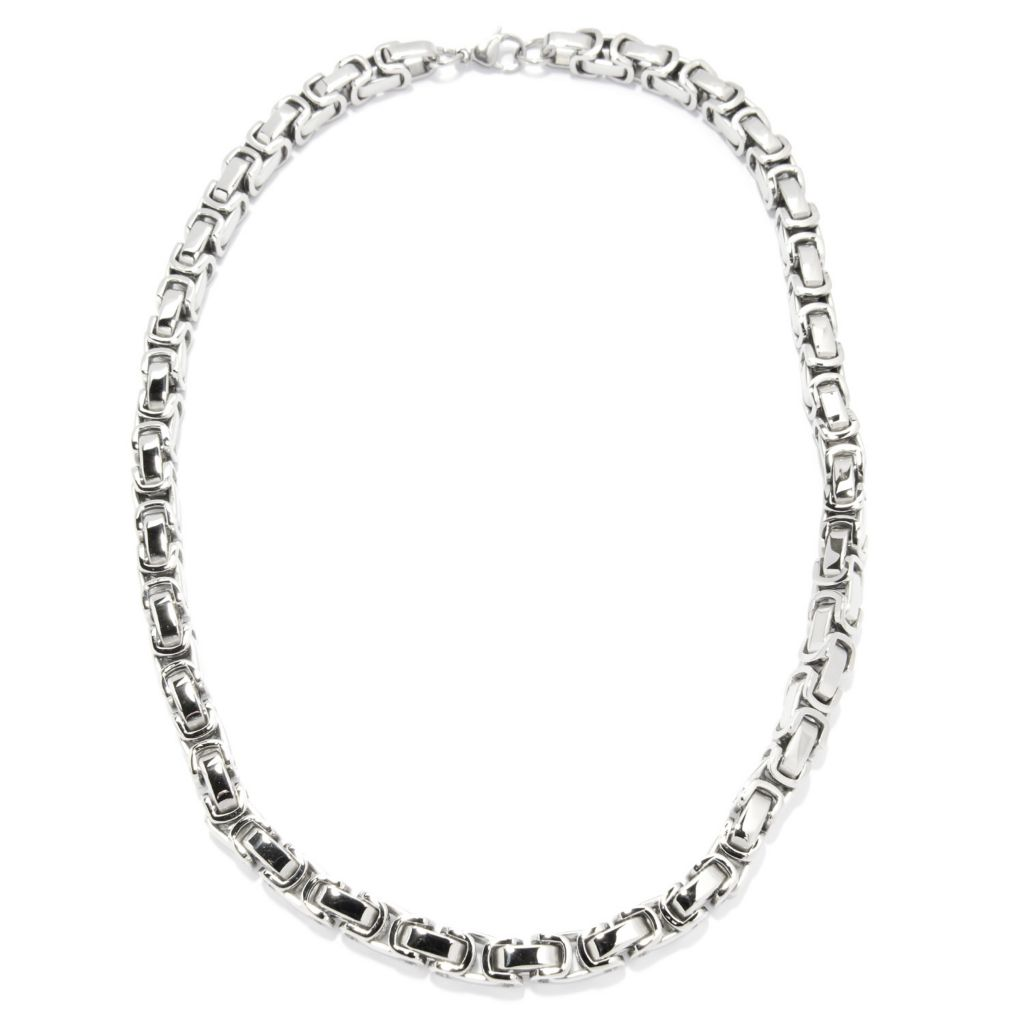 140-119 - Steel Impact™ Men's Stainless Steel Byzantine Chain Necklace