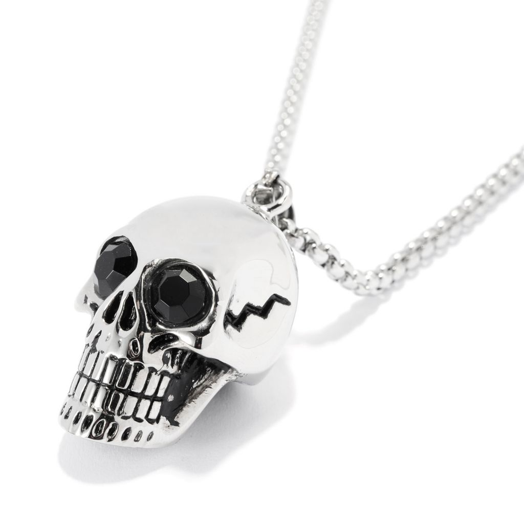 "140-120 - Steel Impact™ Men's Stainless Steel Polished Skull Pendant w/ 23.5"" Chain"