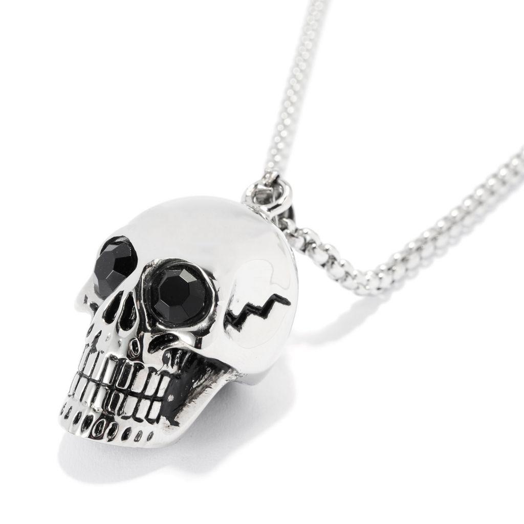 "140-120 - Steel Impact™ Men's Stainless Steel Polished Skull Pendant w/ 23.5"" Chain"