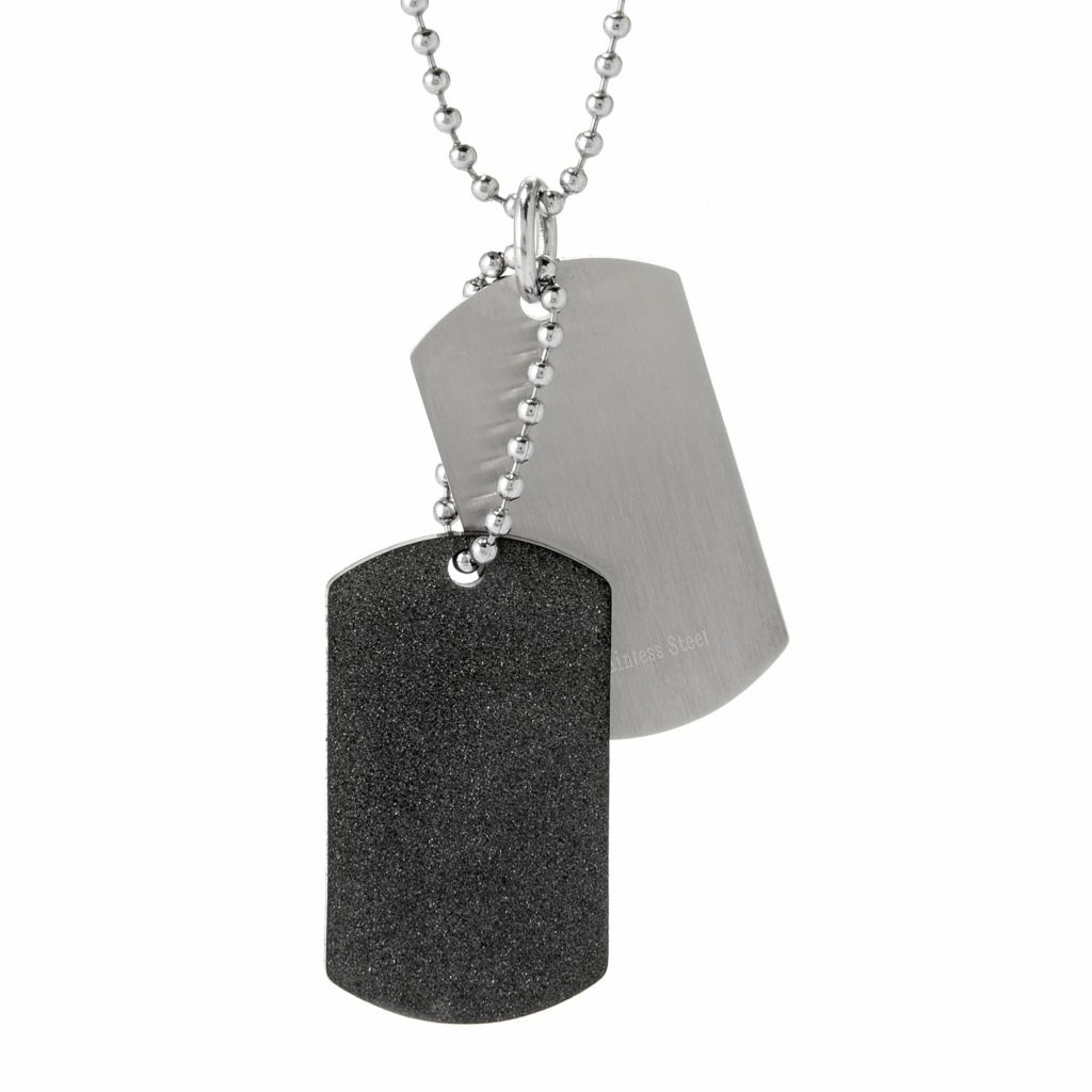 """140-121 - Steel Impact™ Set of Two Men's Two-tone Stainless Steel Tag Pendants w/ 24"""" Ball Chain"""
