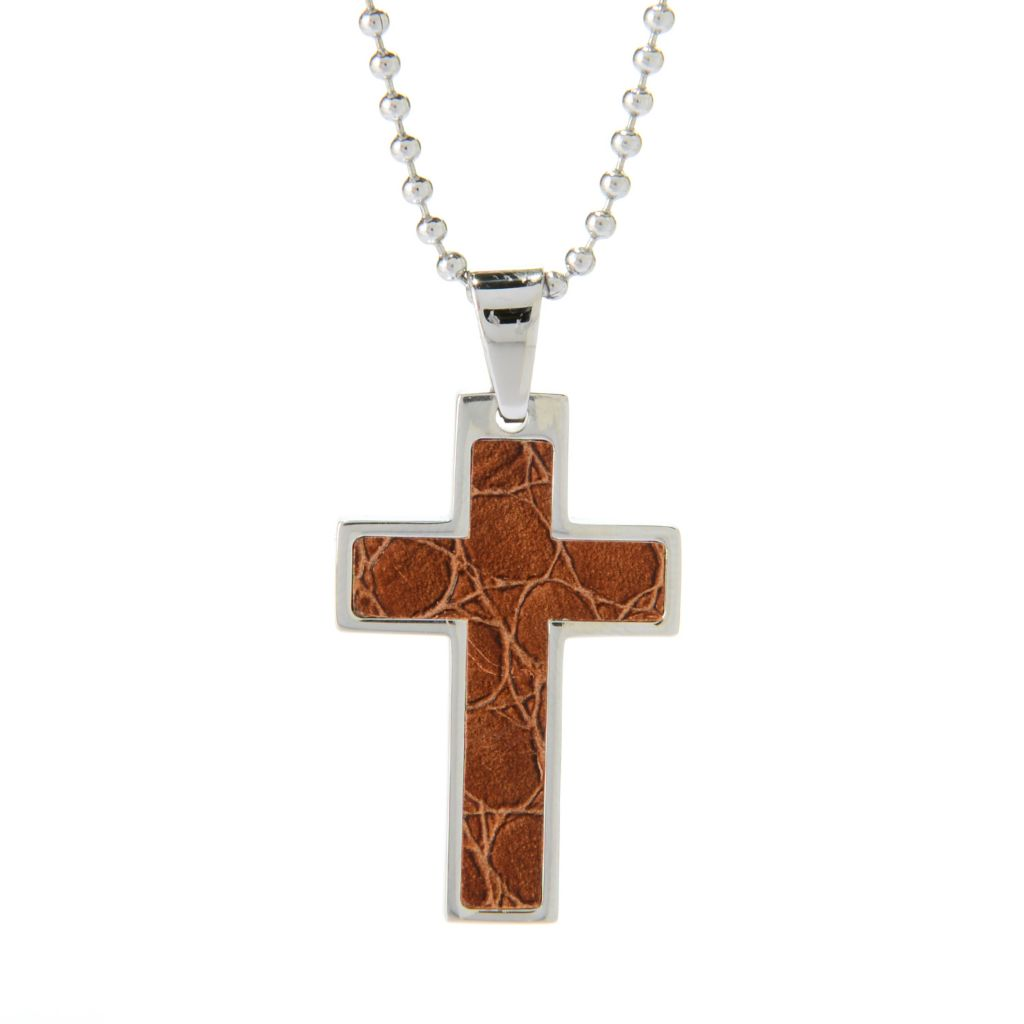 "140-122 - Steel Impact™ Men's Stainless Steel Leather Inlay Cross Pendant w/ 24"" Chain"