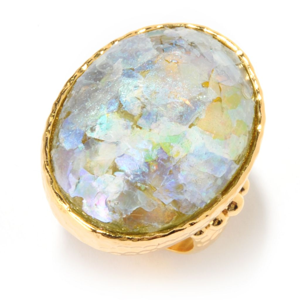 140-125 - Toscana Italiana 18K Gold Embraced™ 25 x 19mm Oval Roman Glass Hammered Ring
